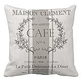 emvency manta funda de almohada modern Vintage francés Cafe decorativo funda de almohada de París Decoración del hogar Cojín cuadrado Funda de almohada