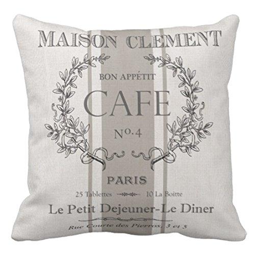 emvency Überwurf Kissenbezug Modern Vintage French Cafe Dekoratives Kissen Case Paris Home Decor Quadratisch Kissen Kissenbezüge, baumwolle, grün, 20 X 20 inch