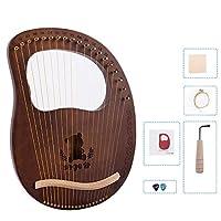 1個 19弦木製ハープ マホガニーライアーハープ 金属弦 弦楽器 初心者向け 耐久性のある チューニングレンチ きれいな弦布チ付き ダークウッドカラー配達6〜9労働日まで