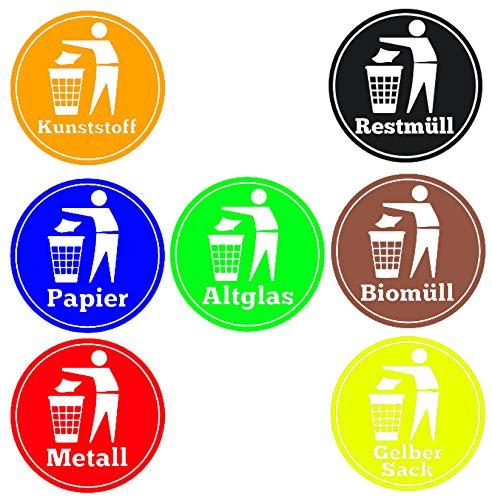 HR-WERBEDESIGN 7 stuks stickers afvalscheiding vuilnisemmer vuilnisbak Afball gerecycled 100 mm tone x