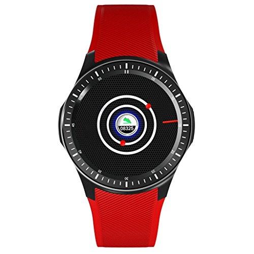 Reloj Inteligente WiFi Control de la frecuencia cardíaca Cuenta Paso Previsión meteorológica Posicionamiento GPS 3G Andrews iOS DM368 (Negro Blanco Rojo) (Color : Red)