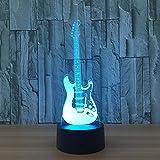 3D Illusion Lampe Nuit Lumière,Guitare Électrique Lampe De Chevet 16 Couleurs Changement De Commutateur Tactile Table Bureau Décoration Lampes Parfait Cadeau Créatif Pour Enfants