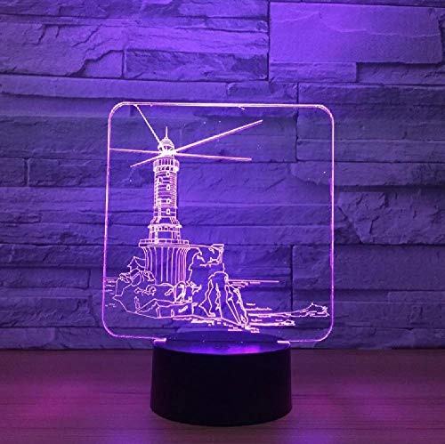 Lighthouse Model 3D Led Night Light 7 Color Change Mood Lamp USB 3D Illusion Table Lamp for Home Decorative Drop Shipping