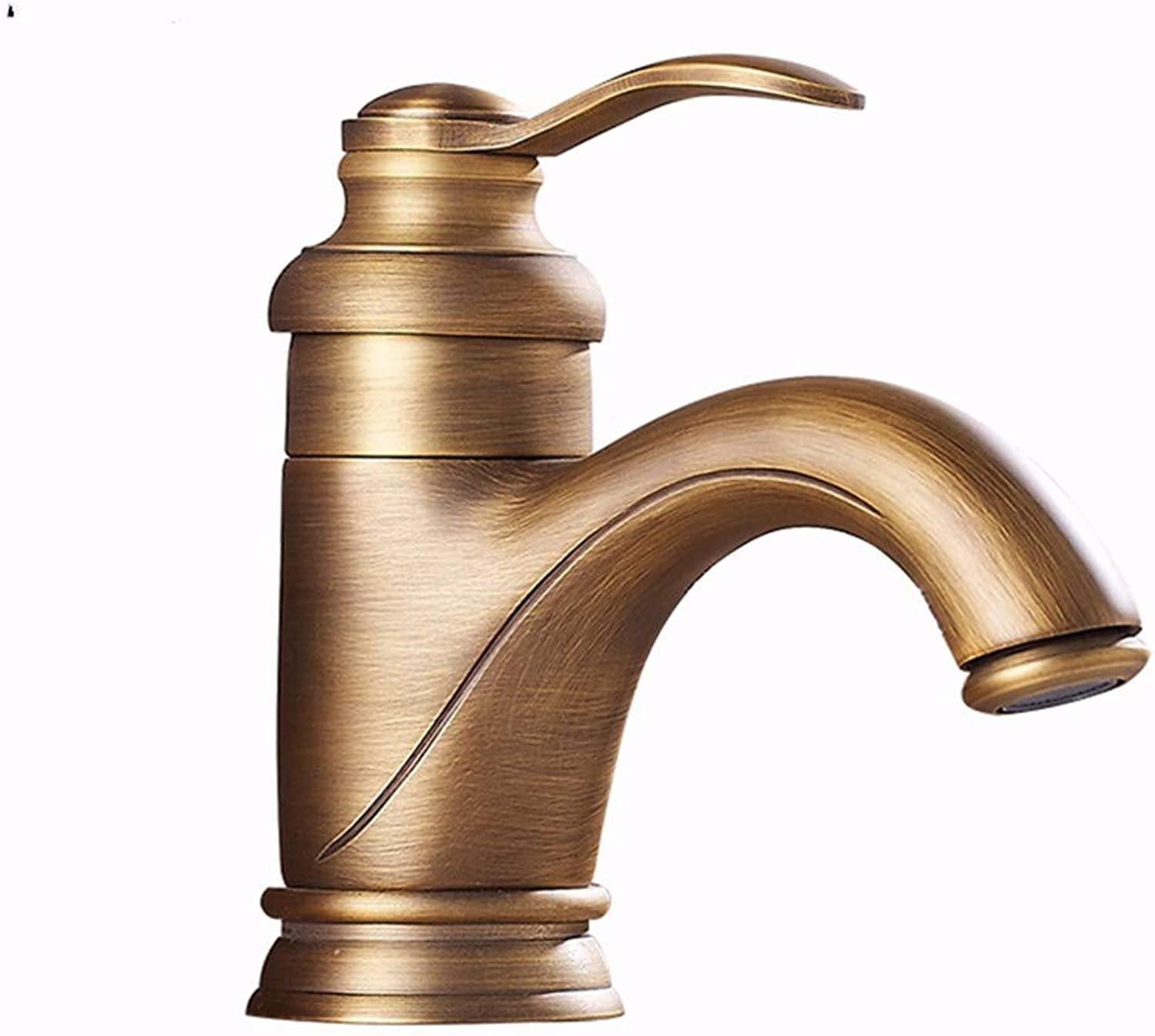 GiiWii Bathroom Faucet Retro Copper Metal for Washbasin Hot and Cold Water Mixture,golden Short