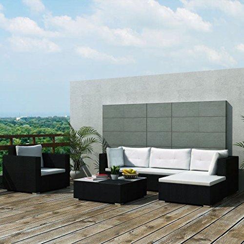 Tidyard Conjunto Muebles de Jardín de Ratán 17 Piezas Sofa Jardin Exterior Sofas Exterior,Estructura de Acero,Cojines Extraíbles,Poli Ratán,Negro(Combinable de Diferentes Formas)
