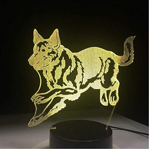 3D Luz De Noche Led LED Lámpara de Escritorio Lobo salvaje para hombres, mujeres, niños, niñas, regalo Con interfaz USB, cambio de color colorido