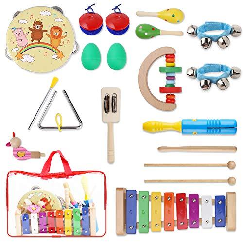Yissvic 13PCS Musikinstrumente Musical Instruments Set Spielzeug von Holz Percussion Schlagzeug Schlagwerk Rhythmus Band für Kinder und Baby