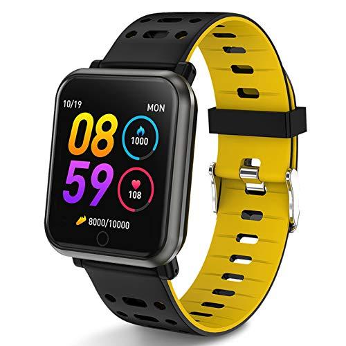 Polywell Fitness Armbanduhr mit Herzfrequenz, Fitness Tracker, Bluetooth Sportuhr Aktivitätstracker Schrittzähler, Schlaf Monitor, Kalorienzähler[2 x Replaceable Watch Strap] (Black Yellow)