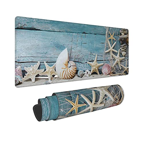 Beach Large Gaming Mouse Pad XL Long Extended Mousepad Conch Seashell Starfish Wood Decorative Office Desk Mat Nonslip Rubber Base Stitched Edges Mice Pads 31.5'' X 11.8''