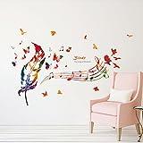 ufengke Notas Musicales en Colores Pegatinas de Pared con Plumas de Colores, Pájaros y Mariposas Decorativo Extraíble DIY Vinilo Pared Calcomanías Sala de Estar, Dormitorio Mural