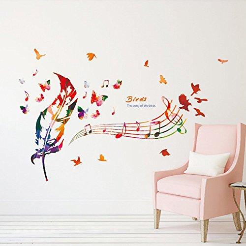 ufengke Wand Aufkleber Noten im Farben mit Bunten Feder, Vögel & Schmetterlinge Wandsticker Dekorative Abnehmbare DIY Vinyl Wandtattoos für Ohnzimmer, Schlafzimmer