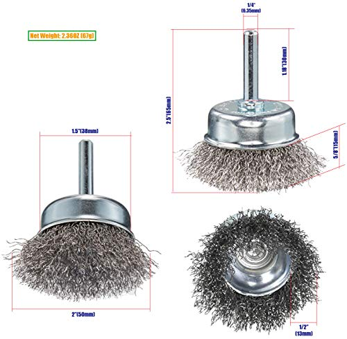 HOYIN 6Piece Wire Wheel Cup Brush Set  Coarse Crimped Carbon Steel 1/4In Round Shank for Drill