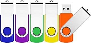 32GB Flash Drive, JEVDES 5 Pack Swivel Data Storage USB Flash Drive USB 2.0 Flash Drive Thumb Drives with LED Indicator, Jump Drive Zip Drive Memory Sticks (5 Mixed Color with Lanyards)