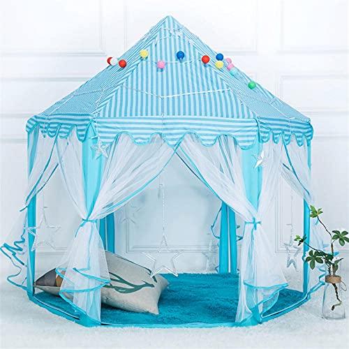 Azul Tienda Campaña Infantil con Luces LED de Estrella,Carpa Infantil Carpa para Niñospara Chicas,140x140x135cm