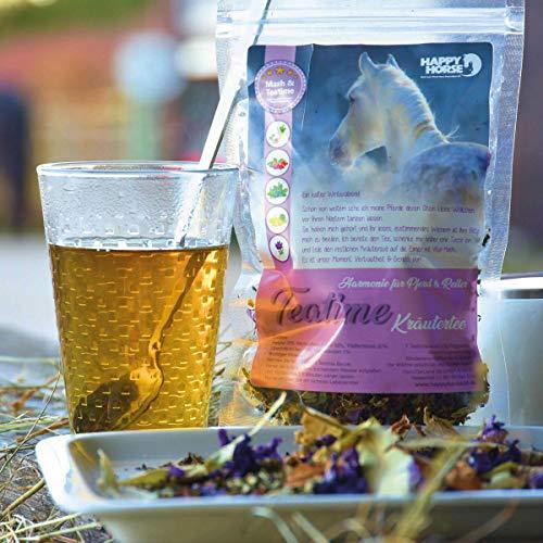 Happy Horse Mash & Teatime | 14 kg bestes Mash für Pferde + 7 x 9 g Tee | Weltneuheit - der Vitaltee für Pferde und Menschen zum gemeinsamen Genießen