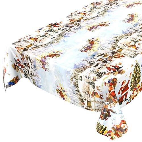 ANRO Wachstuchtischdecke Wachstuch Wachstischdecke Tischdecke Weihnachten Tag Weihnachtsbaum 100x140cm