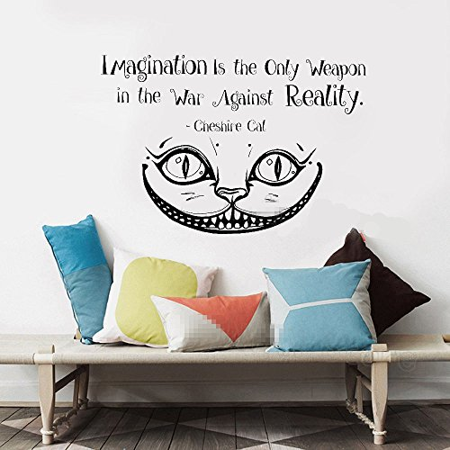 wandaufkleber 3d schlafzimmer Wall Sticker Lettering Wall Art sticker Removable Letters Quote Art Alice In Wonderland imagination is the only weapon in the war against reality for nursery kids room