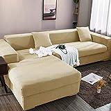 Funda elástica para sofá Chaise Longue, Funda para Sofa en Forma L, Funda Chaise Longue Derecho/Izquierdo (un sofá esquinero en L Requiere 2) (Color : F, Size : 4 plazas (235-300cm))