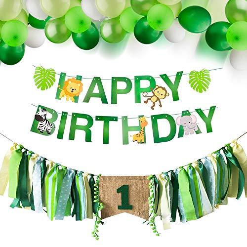 Bebé 1er Cumpleaños Decoraciones una Trona Pancartas Banner de Feliz cumpleaños de Safari Zoo Animals con Globos de Colores temáticos de la Selva (Verde) (Verde)