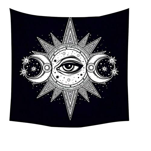 KHKJ Psicodélico Mandala Tapiz Colgante de Pared Sol Luna Estrella Manta de Picnic Accesorios de decoración del hogar Tapiz de Yoga Alfombra de Arte A3 150x130cm