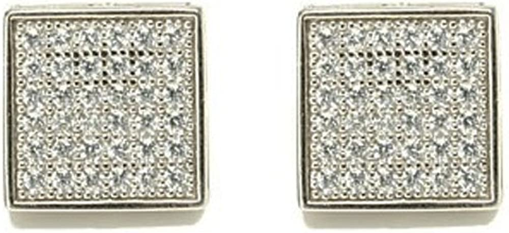 Lowest price challenge Square Micro Max 60% OFF Pave Cubic Zirconia Silver Stud CZ Earring Sterling