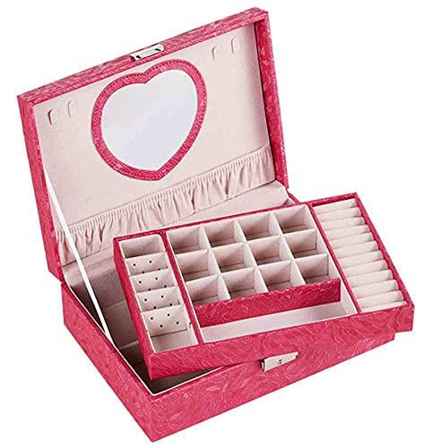 Mostrar caja de joyería 2 capas Organizador de caja de joyería premium para mujeres Caja de almacenamiento de joyas de viajes grande con bloqueo de espejo y llave para collar Pendiente Pulsera Pulsera