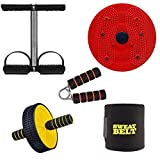 Vantage® 5 in 1 Tummy Trimmer and Ab Wheel and Tummy Twister and Sweat Belt with Hand Grip Combo Weight Loss Women & Men -Abs Exerciser-Body Toner Sweat Belt Free Size