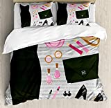 Ambesonne Heels and Dresses Duvet Cover Set, Black Smart Cocktail Dress Perfume Make up Clutch Bag, Decorative 3 Piece Bedding Set with 2 Pillow Shams, King Size, Brown Pink