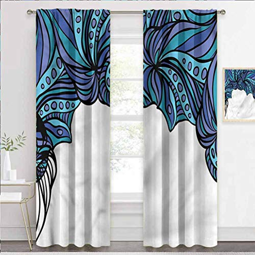 painting-home Kids Blackout Curtains Octopus, Abstract Marine Pattern Light Reducing Window Coverings for Villa/Hall/Patio Door W63 x L45 Inch