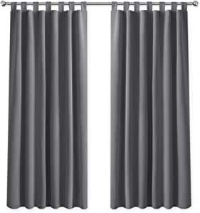 PONY DANCE Gray Window Curtains - Tab Top Thermal Insulated Blackout Window Treatments Drapes for Living Room or Bedroom with 2 Panels, 55 inch Wide by 68 inch Drop, Grey