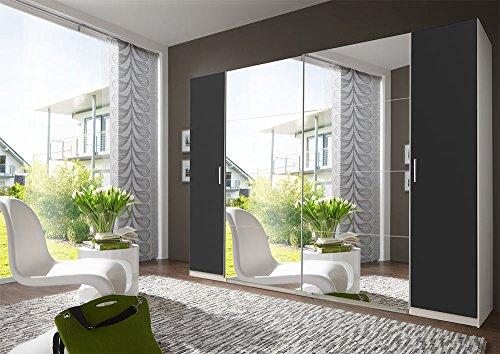 lifestyle4living 4-TRG. Dreh-/Schwebetürenschrank Alpin-Weiß/Graphit, 2 Spiegeltüren, 4 Einlegeböden, 4 Kleiderstangen, Maße: B/H/T ca....