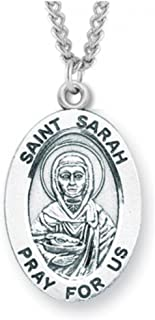 Heartland Women's Sterling Silver Oval Saint Sarah Pendant USA Made + Chain Choice