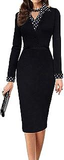 LUNAJANY Women's Polka Dot Long or Short Sleeve Wear to Work Office Pencil Dress