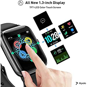 Fitpolo Smart Watch for Android Phones and iOS Phones IP68 Swimming Waterproof Smartwatch Fitness Tracker Fitness Watch Heart Rate Monitor Smart Watches for Men Women (Black)