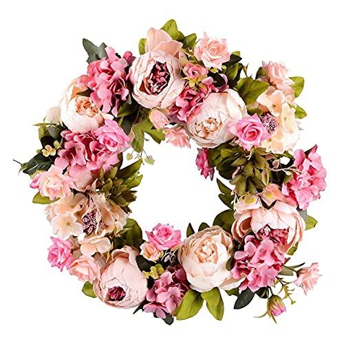HUANHUAN Huan store - Ghirlanda di fiori artificiali con peonia, 40,6 cm, per porta anteriore, matrimonio, decorazione per la casa (colore: rosa, taglia: M)