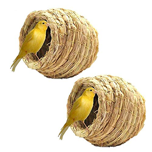 Birdcage Straw Simulation Birdhouse 100% Natural Fiber - Cozy Resting Breeding Place For Birds - Provides Shelter From Cold Weather - Bird Hideaway From Predators - Ideal For Finch & Canary 2PCS