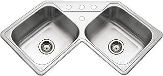Houzer LCR-3221-1 Legend Series Topmount Stainless Steel Corner Bowl Kitchen Sink