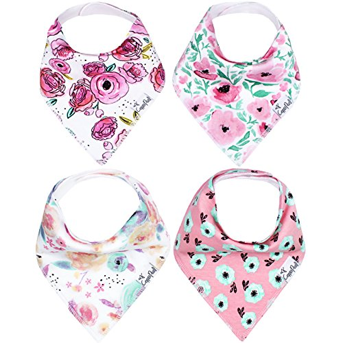 Baby Bandana Drool Bibs for Drooling and Teething 4 Pack Gift Set for Girls Bloom Set by Copper Pearl