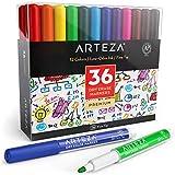 ARTEZAイレーザー付きホワイトボードマーカー、36本入り(細字)、低臭性インク12色は學校、オフィス、家庭に最適です