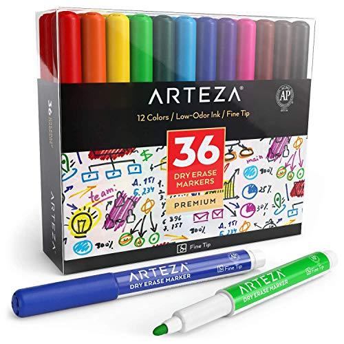 Arteza Whiteboard Marker mit feiner Spitze, Set mit 36 Whiteboard Stiften in 12 verschiedenen Farben, trocken abwischbar von Magnettafeln, Boardmarker für Zuhause, Büro oder Schule