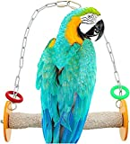 Sweet Feet and Beak Roll Swing and Perch Bird Toys - Keeps Nails and Beak in Top Condition - Handmade Pet Supplies - Safe and Non-Toxic Bird Cages Accessories - Parrot Toys (9' Orange M)