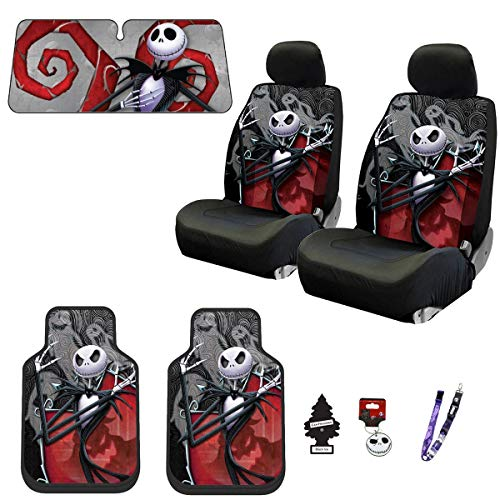 Yupbizauto New Plasticolor 12 Pieces Nightmare Before Christmas Jack Skellington Ghostly Car Truck SUV Seat Covers Floor Mat Bundle Set