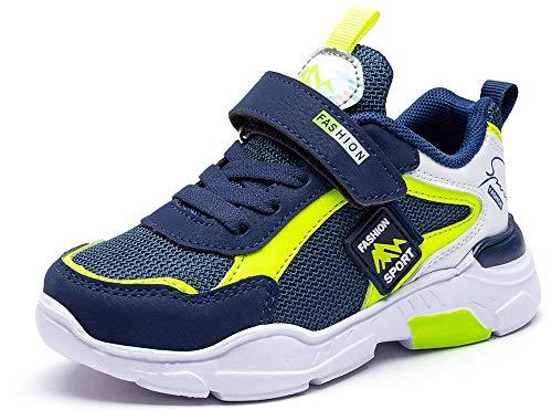 Mitudidi Schuhe Kinder Sneaker 32 Kinderschuhe Hallenschuhe Laufschuhe Sportschuhe Innen Außen Basketballschuhe Tennisschuhe Klett Flach Kids Sport Schuhe für Unisex-Kinder Blau Grün