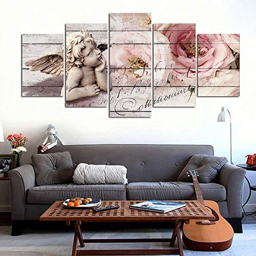 Afdrukken Op Canvas Kunstdruk Op Canvas Hd-Afbeeldingen Frameloze Huis Wanddecoratie Canvas Schilderij Olieverfschilderij Engel Roos Abstract Schilderij