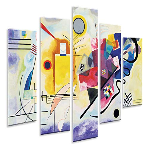 Giallobus - Pintura de Paneles múltiples 5 Piezas - Kandinsky - Amarillo Rojo y Azul - Impresión en forex con Efecto de Relieve - Listo para Colgar - 140x100 cm