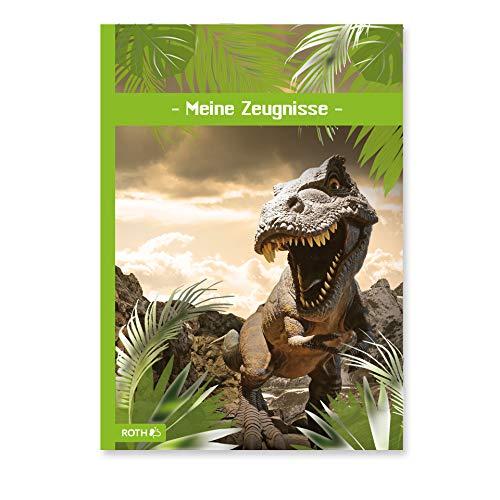 ROTH Zeugnismappe Tyrannosaurus mit Folieneffekt - mit 10 A4 Klarsichthüllen, dokumentenecht - Dokumentenmappe