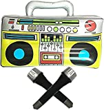 """GuassLee 16"""" Party Inflatable Boom Box PVC Radio + 2 Microphones for Party Decorations 80s Inflatable Props"""