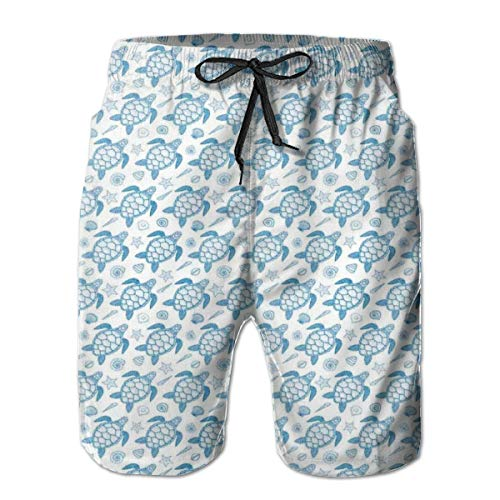 ZMYGH Men's Sports Beach Shorts Board Shorts,Subaquatic Animals Illustration Monochrome Sea Turtle and Shells Ocean Elements,Surfing Swimming Trunks Bathing Suits Swimwear