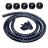 Organizador de Cables, 2pcs Cubre Cables Negro con Clips de Guía 2m, Recoge Cables, Diámetro 22 mm, para Organizar y Ocultar Varios Cables, para Evitar La Masticación de Mascotas
