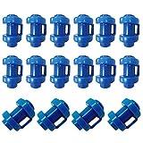 Tianher Tapas de Trampolín, 16 Piezas Tapas de Extremo para Cama Elástica Postes Red Trampolín Pieza Repuesto Azul Ø 25 mm.
